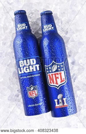 IRVINE, CALIFORNIA - JANUARY 13, 2017: Bud Light Aluminum Bottles in ice. The resealable bottles feature the NFL and Super Bowl LI logos.