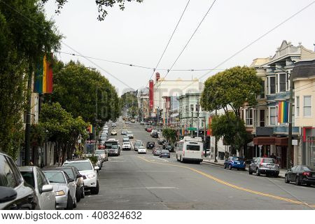 A Street Full Of Gay Pride Flags In The Castro District, San Francisco, California, United States Of