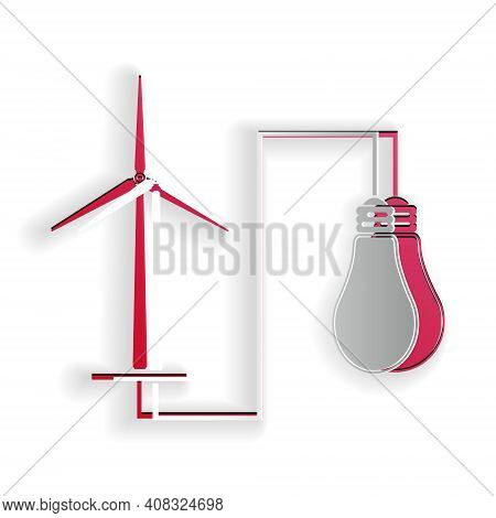 Paper Cut Wind Mill Turbine Generating Power Energy And Bulb Icon Isolated On White Background. Natu