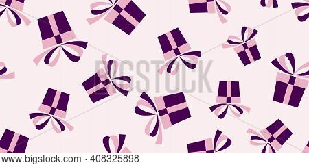 Seamless Pattern With Pink And Violet Gift Boxes Isolated On Pink Background. Vector Illustration