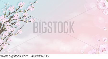 Spring Apple Blossom On Blue And Pink Pastel Sky Background, Vector Illustration Blossoming Branches