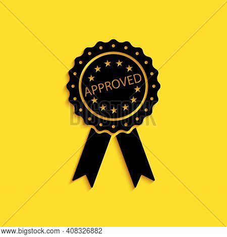 Black Approved Or Certified Medal Badge With Ribbons Icon Isolated On Yellow Background. Approved Se