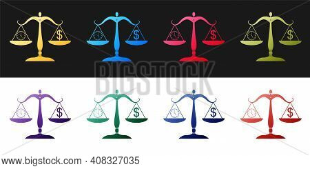 Set Scale Weighing Money And Time Icon Isolated On Black And White Background. Scales With Hours And