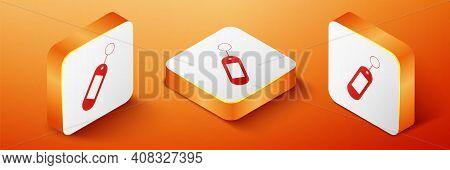 Isometric Key Chain Icon Isolated On Orange Background. Blank Rectangular Keychain With Ring And Cha