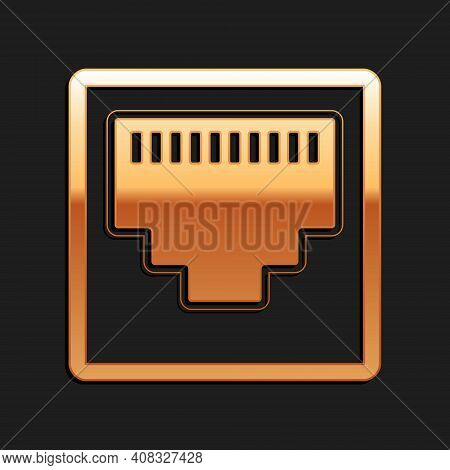 Gold Network Port - Cable Socket Icon Isolated On Black Background. Lan Port Icon. Ethernet Simple I