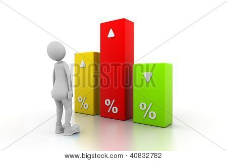 Man with percentage graph