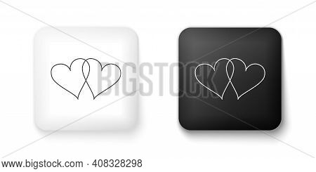 Black And White Two Linked Hearts Icon Isolated On White Background. Heart Two Love. Romantic Symbol