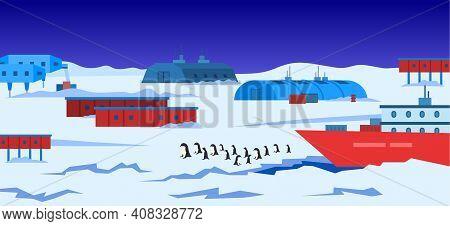 Cartoon Color Antarctic Polar Station And Landscape Scene Concept Flat Design Style. Vector Illustra
