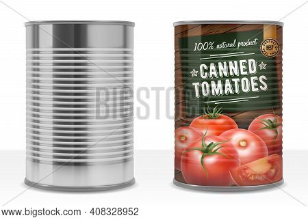 Realistic Detailed 3d Canned Tomato Puree With Label And Empty Template Mockup Can Pack Set. Vector