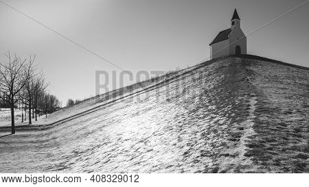 Little White Church On Top Of The Hill, The Hague The Netherlands.