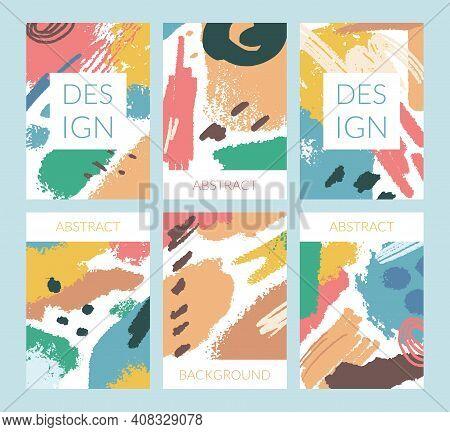 Cartoon Color Abstract Paint Blotches Concept Template Flyer Banner Card Flat Design Style For Busin