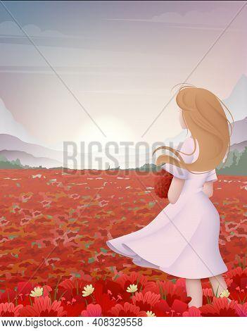 Cartoon Color Character Person Woman Enjoys Flower Field Landscape Scene Romantic Concept Flat Desig