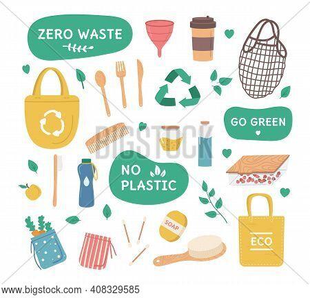 Cartoon Color Zero Waste Concept Durable Reusable Items Icon Set Flat Design Style. Vector Illustrat