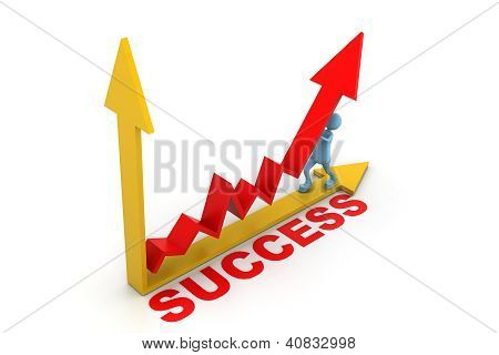 man pushing up the success graph