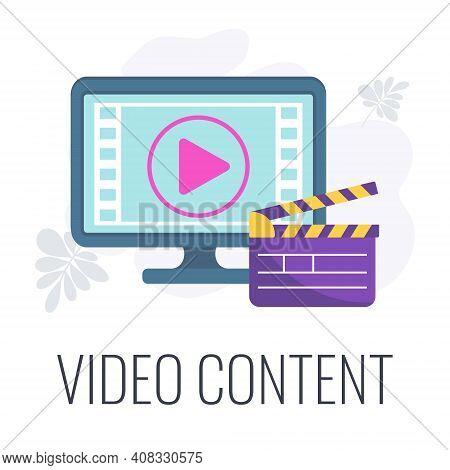 Video Content Icon. Video Marketing. Digital Marketing.