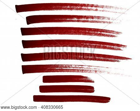 Abstract Red Marker Strokes Illustration Collection. Alcohol Brush Pen сherry Colour Stroke Stripe,
