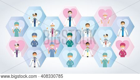 Composition Of Blue And Pink Hexagons With A Group Of Doctors With Masks Seen From The Front On Each