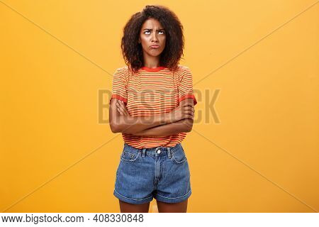 Why Life So Unfair. Portrait Of Cute Offended And Gloomy Displeased African American Young Woman Wit