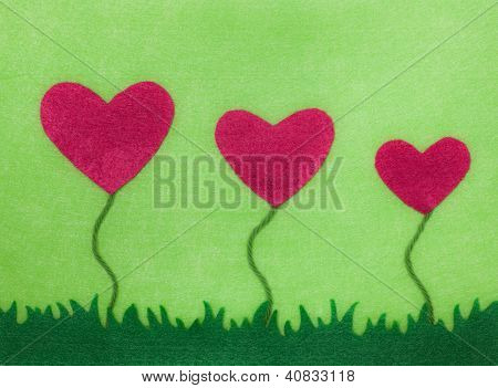 Felt Heart Flower Card