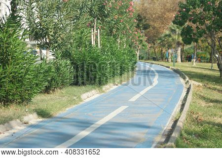 Bicycle Path Between Tropical Plants On The Embankment Of Turkey. Embankment Of The Resort City Of T