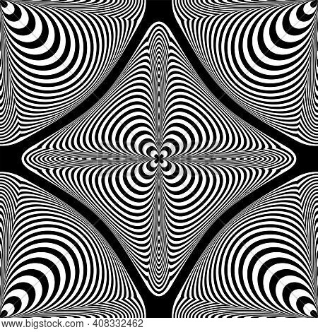 Seamless Op Art Pattern With Lines Texture And 3d Illusion. Vector Illustration.