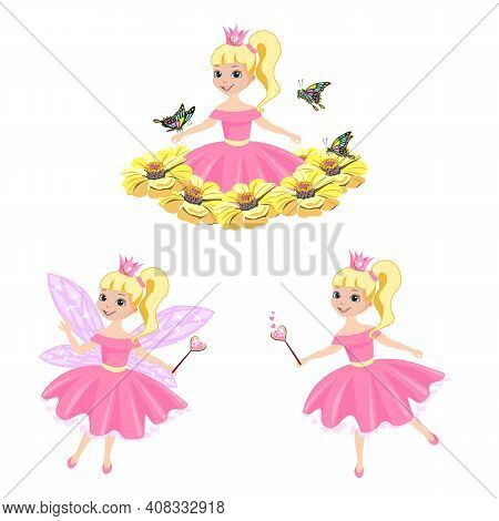 Vector Set Of A Beautiful Princess With Magic Wings And A Magic Wand, Fluttering Over A Meadow Of Pi