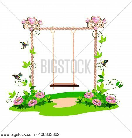 The Swing For The Princess Is Decorated With Hearts On The Lawn And Is Entwined With Pink Flowers. V
