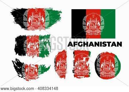 Happy Independence Day Of Afghanistan. Brush Painted Grunge Flag Of Afghanistan