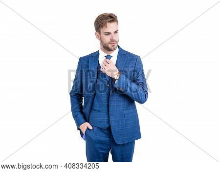 Smart And Stylish. Lawyer Fix Necktie Wearing Vested Blue Suit. Business Formal Style. Formal Wear.