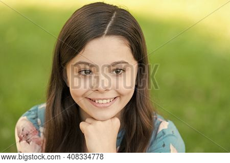 When You Smile You Feel Good. Happy Girl Smile On Sunny Outdoor. Little Child With Cute Smile In Sum