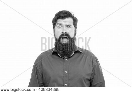Boost Your Moustache Growth Today . Bearded Man Keep Mouth Open With Surprise. Surprised Hipster Iso