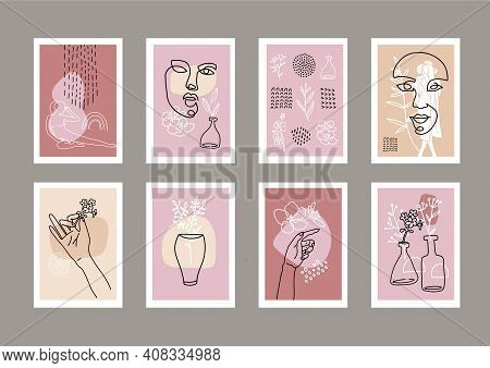 Set Of Fashion A4 Sized Banners. Female Face Drawn In One Line With Abstact Shapes Decor. Silhouette