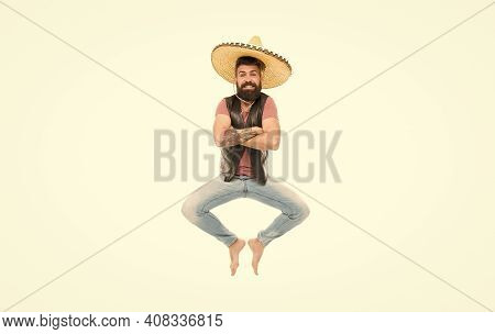 Mexican Energy. Man Bearded Cheerful Guy Wear Sombrero Mexican Hat. Mexican Party Concept. Celebrate