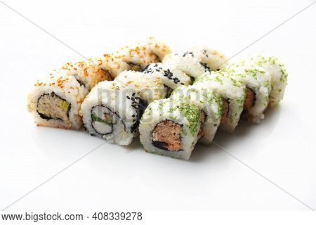 15 Piece Sushi Set. Uramaki With Roasted Salmon, Butterfish And Crab Stick, Isolated On White.
