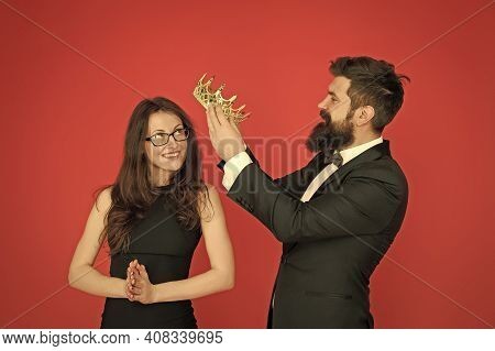 Prom Party. Happy Girl Enjoy Crowning. Bearded Man Crown Beauty Queen. Coronation Party. Couple In L