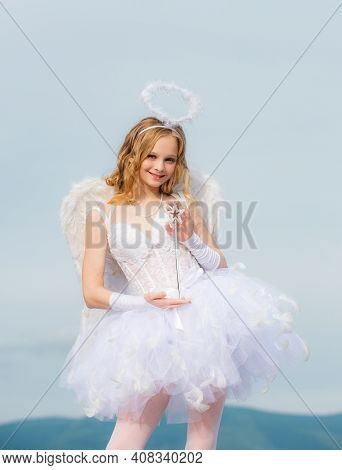 Pretty Teen Girl. Cupid Cute Angel With Bow And Arrows. Pretty White Little Girl As The Cupid With A