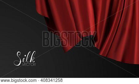 Award Nomination Design Element. Red Silk On Black Background. Luxury Background Template Vector Ill