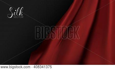 Vector Illustration Design. Red Silk On Black Background. Luxury Background Template Vector Illustra