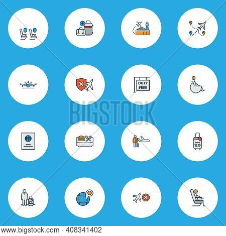 Traveling Icons Colored Line Set With Passport, Hanging Board, Airport Building And Other Citizenshi