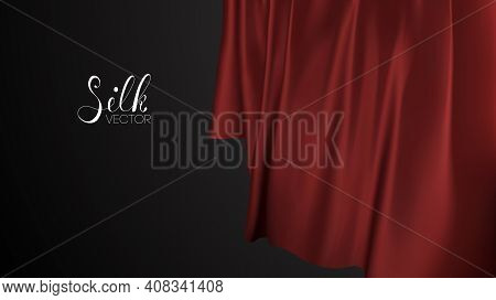 Fabric Pattern Design. Red Silk On Black Background. Luxury Background Template Vector Illustration.