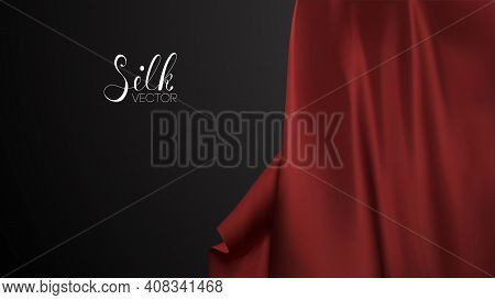 Fashion Advertising. Red Silk On Black Background. Luxury Background Template Vector Illustration. A