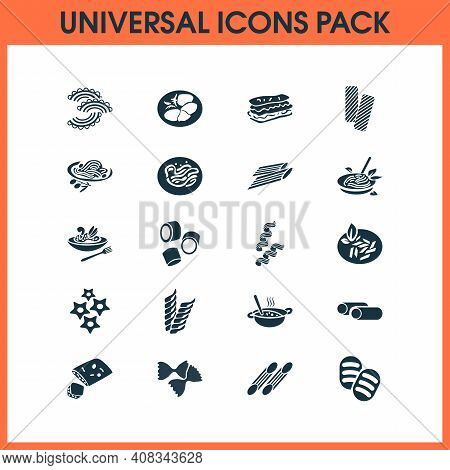 Traditional Meal Icons Set With Cavatappi Pasta, Tasty, Carpaccio And Other Penne Elements. Isolated