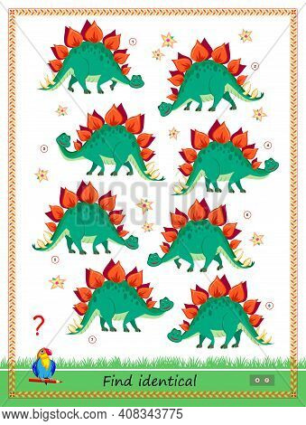 Logic Puzzle Game For Children And Adults. Find Two Identical Stegosaurus. Memory Training Exercises