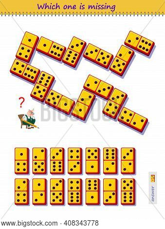 Logic Puzzle Game For Children And Adults. Which Domino Piece From Set Is Missing On The Picture? Ki