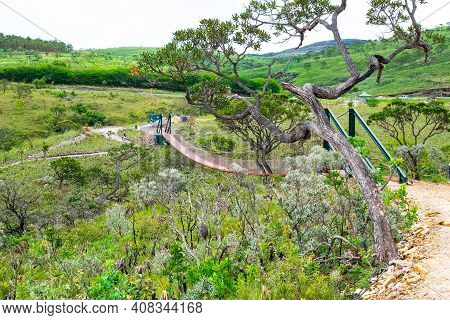 Capitólio - Mg, Brazil - December 08, 2020: Suspension Bridge Of The Belvedere Of The Canyons, Miran