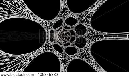 3d Rendering Of White Science Fiction Tunnel Behind Wire Frame Abstract Science Fiction