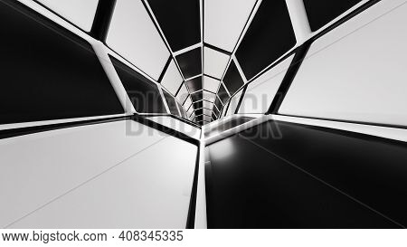 3d Renderings Science Fiction Tunnel Black And White Abstract Dark Background