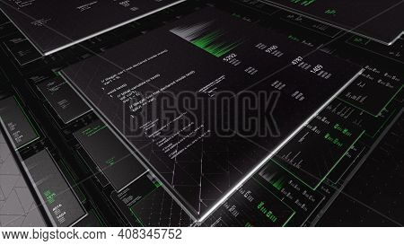 Abstract Screens Of Programming Code On Black Background. Animation. Programming Language And System