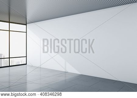 Modern Minimalistic Office Room With City View, Blank Light Grey Wall And Grey Top And Floor. Mockup