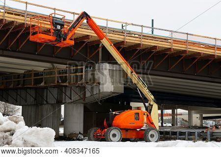 Telescopic Elevator In The Construction Works Of An Overpass Heavy Outdoor Crane